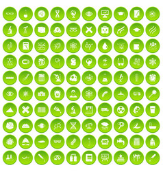 100 microscope icons set green circle vector