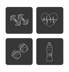 Weight bottle gloves and heart icon fitness vector