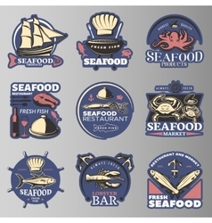 Seafood emblem set in color vector