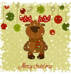 Christmas deer whith freezing pattern vector