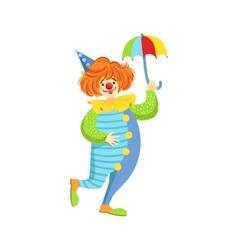 Colorful friendly clown with mini umbrella in vector