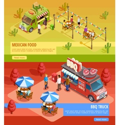 Food trucks 2 horizontal isometric banners vector