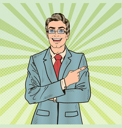 Pop art smiling businessman pointing copy space vector
