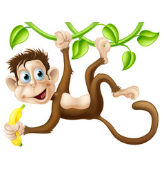 Monkey swinging with banana vector