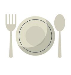 Plate spoon fork utensils vector