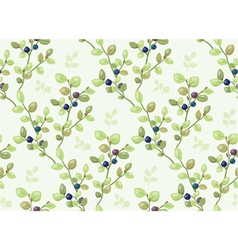 Tiled pattern with blueberry bush vector