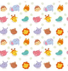 Seamless pattern cute wild animal vector