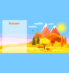 Autumn banner with trees mountains and hills vector