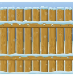 Wooden winter fence seamless vector image