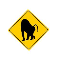 Baboon warning sign vector image