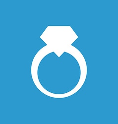 Jewelery ring icon white on the blue background vector