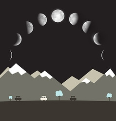 Abstract flat design night landscape with moon vector