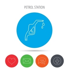 Gasoline pump nozzle icon petrol station sign vector