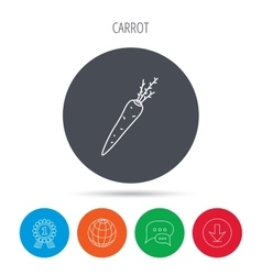 Carrot icon vegetarian food sign vector