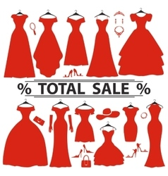 Red party dresses silhouettefashion sale vector