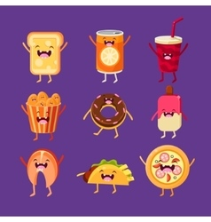 Fun fast food dishes with cute faces happy vector