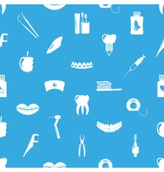 Set of dental theme icons blue seamless pattern vector
