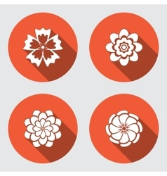 Flower icons set chamomile daisy chrysanthemum vector