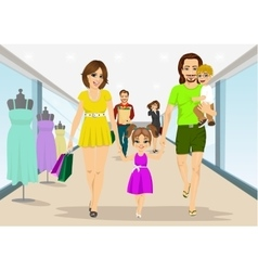 Family walking with shopping bags in supermarket vector