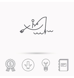 Fishing icon fisherman on boat sign vector