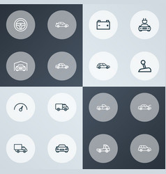 Automobile icons line style set with truck vector