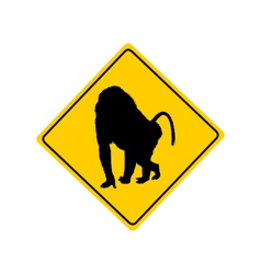 Baboon warning sign vector image