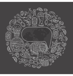 Beer icons doodle with text bubble vector image
