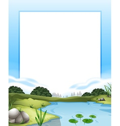 Border with river scene background vector