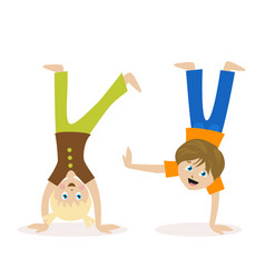boy and girl standing upside down on their hands vector image vector image
