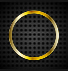 Bright golden ring on perforated texture vector