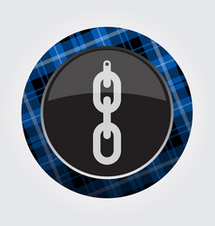 Button blue black tartan - hanging chain hole vector