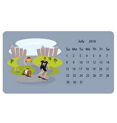 calendar 2018 for july vector image vector image