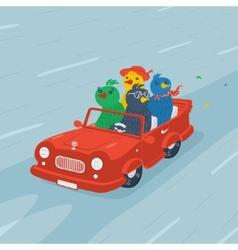 Cartoon Bird On the Car vector image vector image