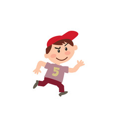Cartoon character white boy with red cap running vector