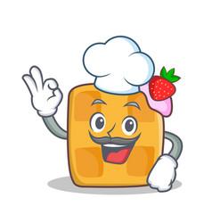 Chef waffle character cartoon design vector