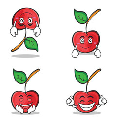 cherry character cartoon style set collection vector image