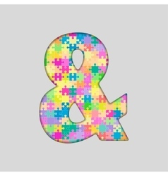 Color puzzle - ampersand mark gigsaw piece vector