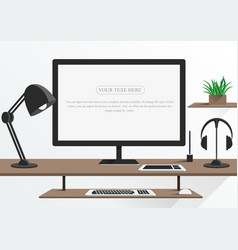 Computer office and modern workspace vector
