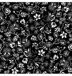 Ditsy black and white Floral Seamless Pattern vector image vector image