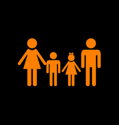 Family sign orange icon on black background old vector