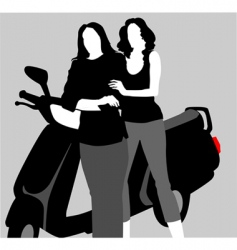 girls on scooter vector image vector image