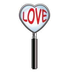 Heart shaped magnifying glass vector
