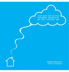 House and cloud poster template vector