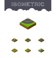 Isometric road set of repairs turn turning and vector