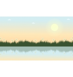 Landscape of grass with river at spring vector
