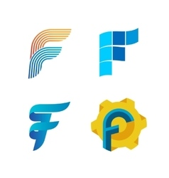 Letter F logo set Color icon templates design vector image