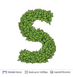 letter s symbol of green leaves vector image