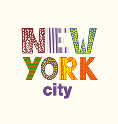 Lettering with new york city vector