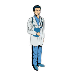 male doctor with lab coat in his office holding a vector image