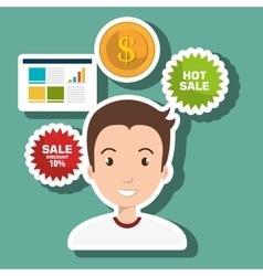 Man credit card sale vector